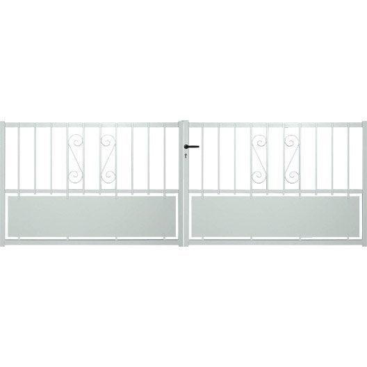 portail battant aluminium rhodes blanc x cm leroy merlin. Black Bedroom Furniture Sets. Home Design Ideas