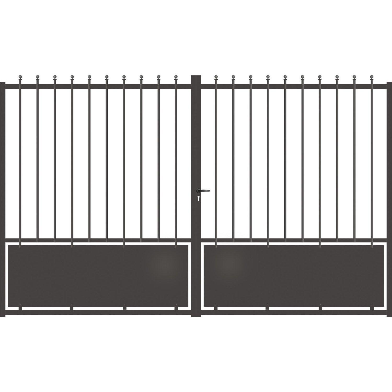 portail battant aluminium crete gris anthracite cm. Black Bedroom Furniture Sets. Home Design Ideas
