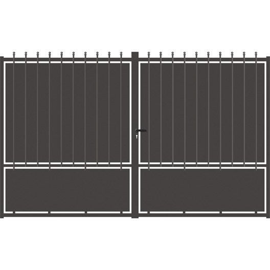 Portail battant aluminium crete festonne gris anthracite cm x cm leroy merlin for Portail aluminium battant 350
