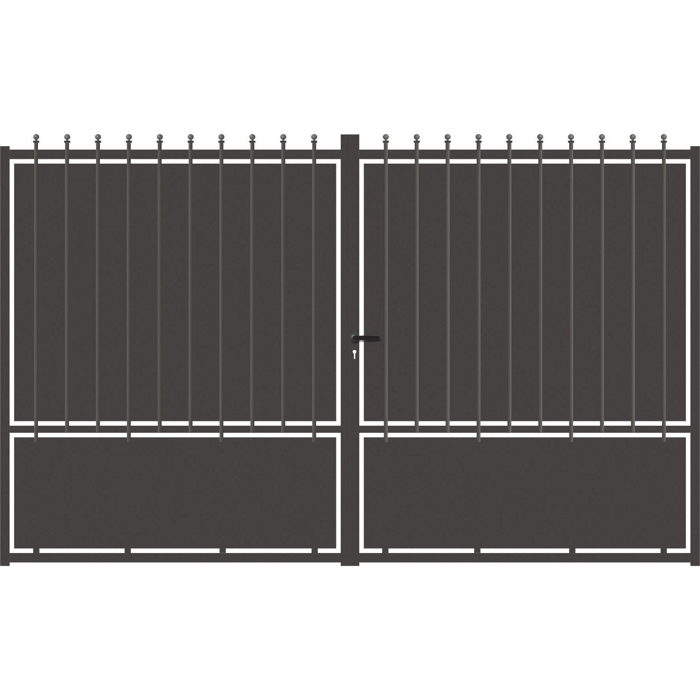 Portail Battant Aluminium Crete Festonne Gris Anthracite L 300 Cm X