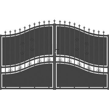 Portail battant aluminium Olympia festonne gris anthracite, l.350 cm x H.194 cm