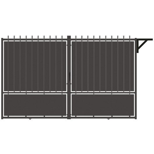portail coulissant aluminium crete festonne gris. Black Bedroom Furniture Sets. Home Design Ideas