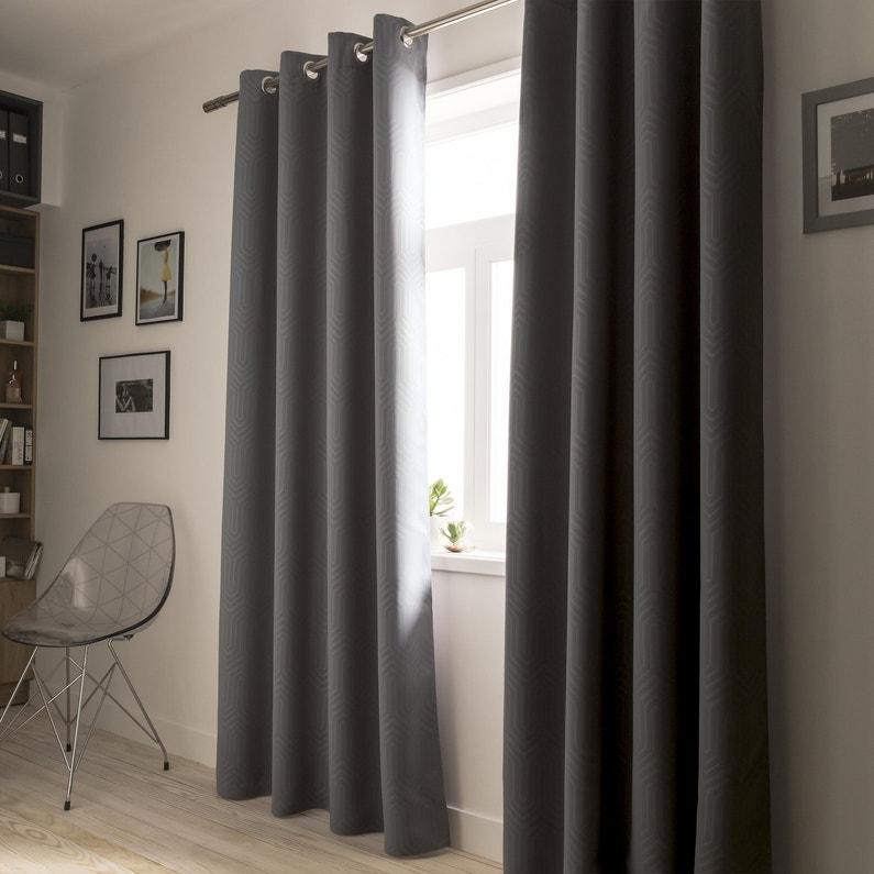 Des rideaux occultants motifs graphiques noirs leroy for 3 fifty eight salon
