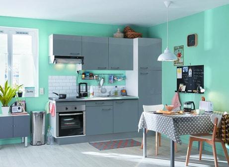 Une cuisine équipée couleur gris