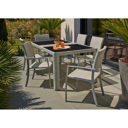 table de jardin bilbao rectangulaire gris 8 personnes leroy merlin. Black Bedroom Furniture Sets. Home Design Ideas