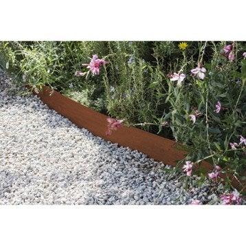 Bordure à planter Aspect rouille acier galvanisé gris, H.13 x L.118 cm
