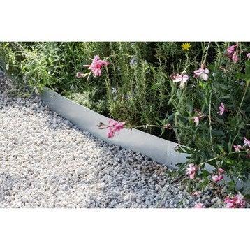 Bordure à planter acier galvanisé naturel, H.12 x L.99 cm