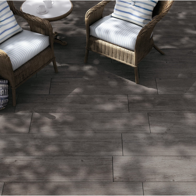 Dalle gr s c rame pleine masse siena bois gris x l - Table en gres cerame ...
