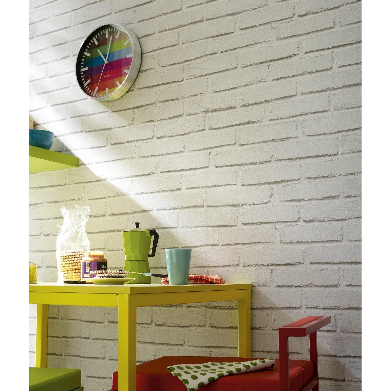 Papier peint papier Brique loft blanc | Leroy Merlin