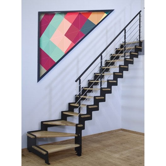 escalier quart tournant structure acier marche bois lamell coll about leroy merlin. Black Bedroom Furniture Sets. Home Design Ideas