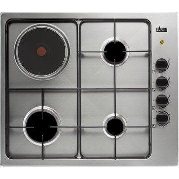 Plaque de cuisson mixte 4 foyers, inox, FAURE FGM62444XA