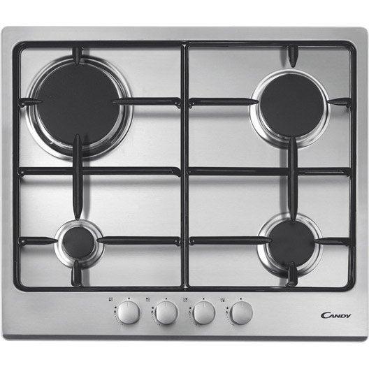 Plaque de cuisson gaz 4 foyers inox candy cpg64spx - Leroy merlin plaque de cuisson ...