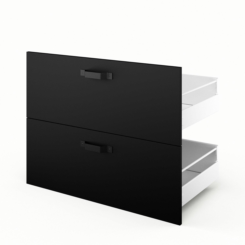 2 tiroirs de cuisine noir mat edition x x cm leroy merlin for Cuisine noir mat