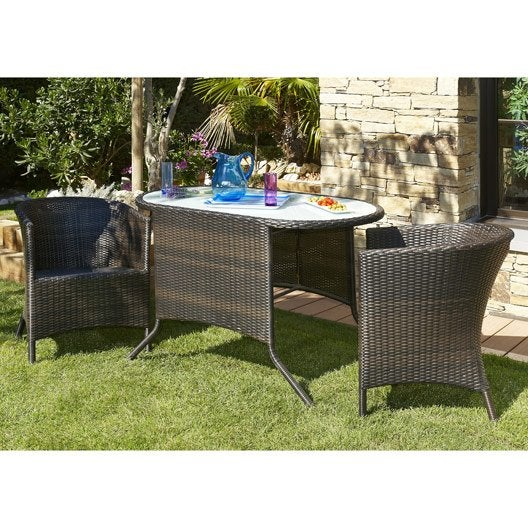 Salon de jardin duo r sine tress e marron 1 table 2 for Salon resine tressee leroy merlin