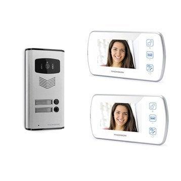 Pack visiophone 1 platine + 2 écrans filaire, THOMSON Multihome