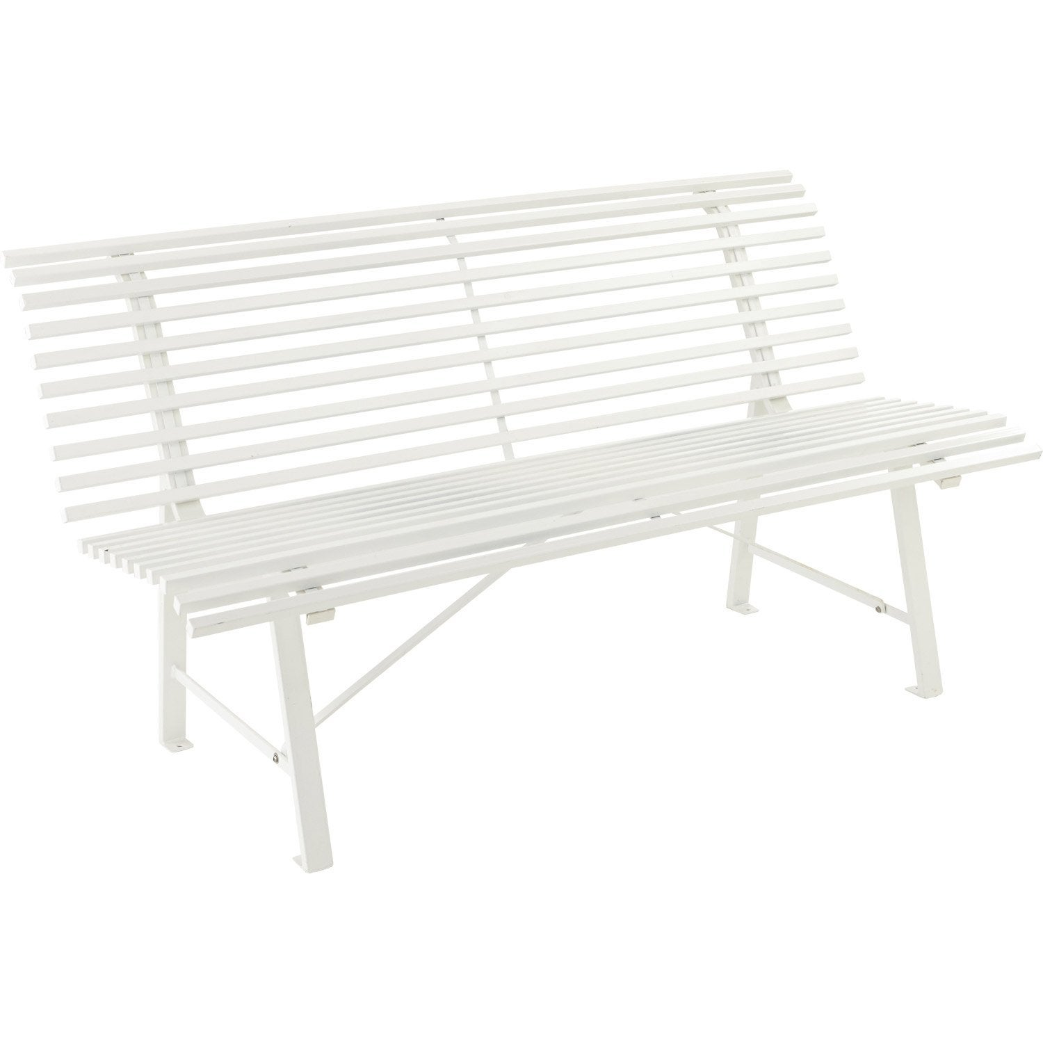 banc 3 places de jardin en acier blanc leroy merlin. Black Bedroom Furniture Sets. Home Design Ideas