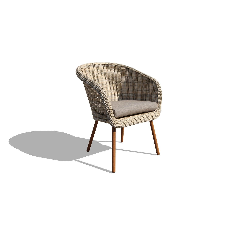 fauteuil en rsine tresse new england beige - Chaise En Resine Tressee