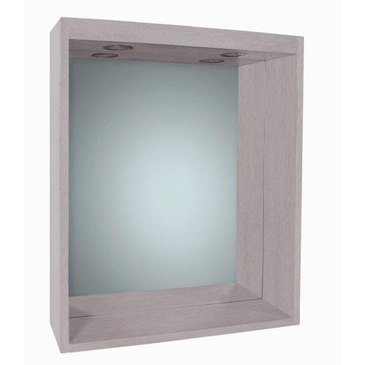 miroir avec clairage int gr l 60 cm sensea nordic. Black Bedroom Furniture Sets. Home Design Ideas