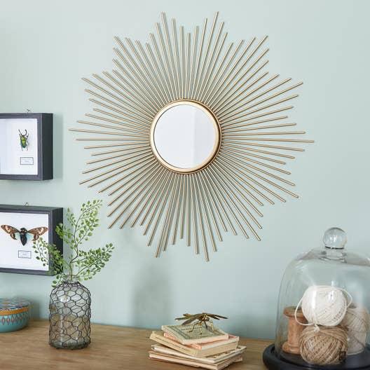 miroir soleil m tal dor diam 55 cm leroy merlin. Black Bedroom Furniture Sets. Home Design Ideas