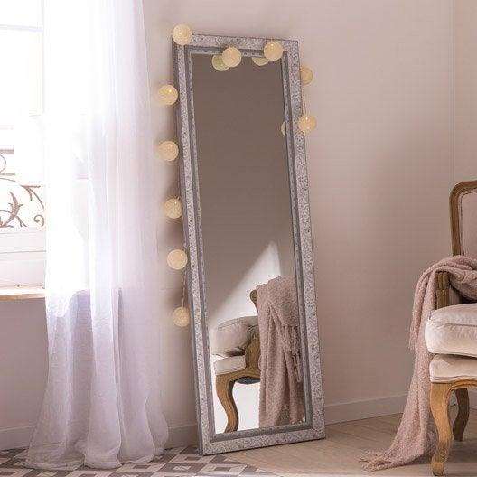 Miroir louise gris x cm leroy merlin for Miroir 40 x 140