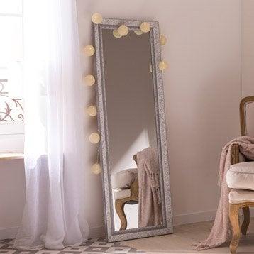Miroir design industriel miroir mural sur pied leroy for Grand miroir gris