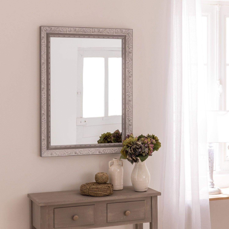 Miroir Louise, gris, l.50 x H.70 cm