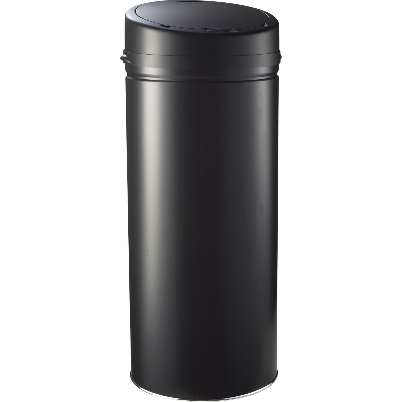 Poubelle de cuisine automatique SELEKTA plastique noir mat, 42 l