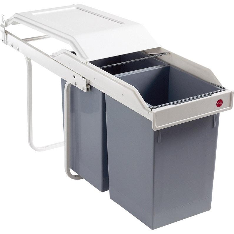 poubelle de cuisine manuelle hailo plastique blanc cr me 30 l leroy merlin. Black Bedroom Furniture Sets. Home Design Ideas