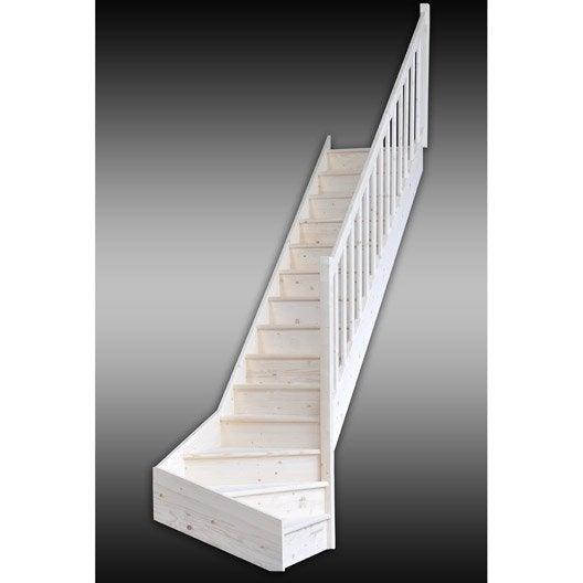 Escalier quart tournant bas droit deva structure bois - Marche escalier leroy merlin ...