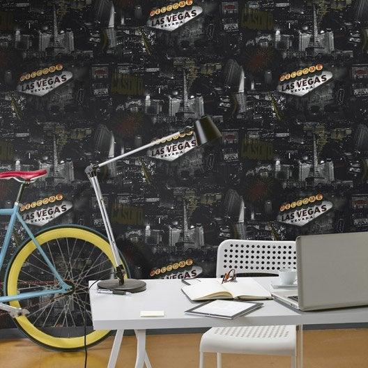 Papier peint papier las vegas noir leroy merlin - Installer du papier peint ...