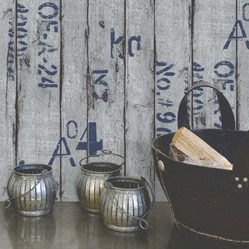 Papier peint vinyle sur intiss wood and letters gris - Frise papier peint leroy merlin ...