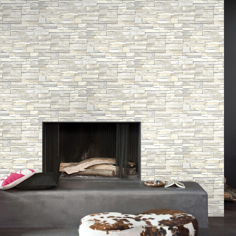 Papier peint intiss brique marbre blanc leroy merlin - Tapisserie imitation pierre ...