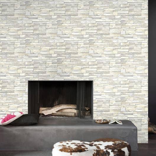 papier peint intiss brique marbre blanc leroy merlin. Black Bedroom Furniture Sets. Home Design Ideas