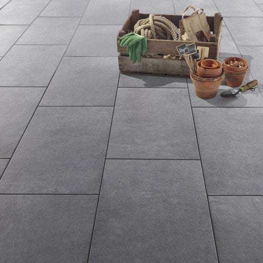 Carrelage sol anthracite effet b ton lune x cm for Destockage carrelage exterieur