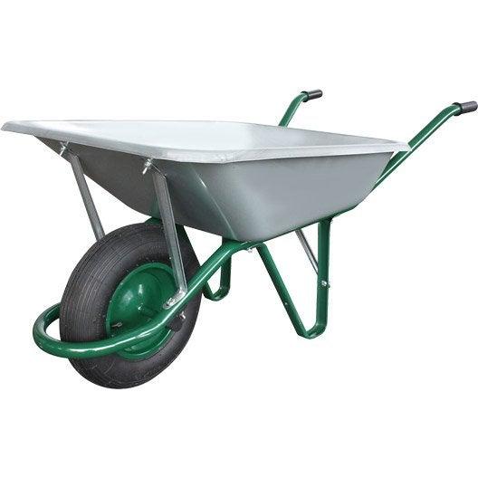 Brouette 1 roue une en acier galvanis altrad 100 l 180 for Brouette 4 roues pour jardin