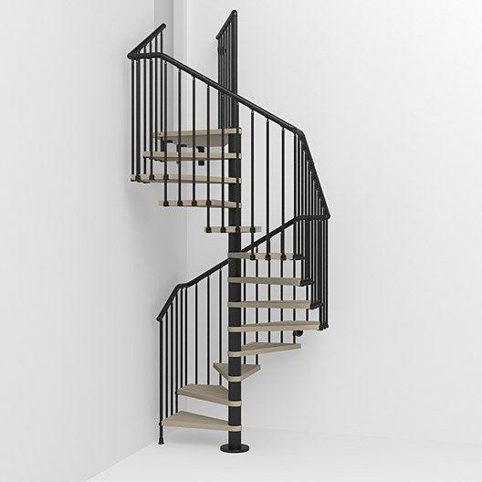 Escalier colima on carr cube structure m tal marche bois leroy merlin - Largeur escalier colimacon ...