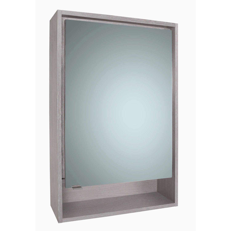 Armoire de toilette lumineuse l. 60 cm, gris structuré, SENSEA Nordic