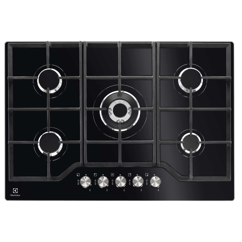 Table De Cuisson Gaz Et Electricite plaque de cuisson gaz 5 foyers, noir, electrolux kgg7536k