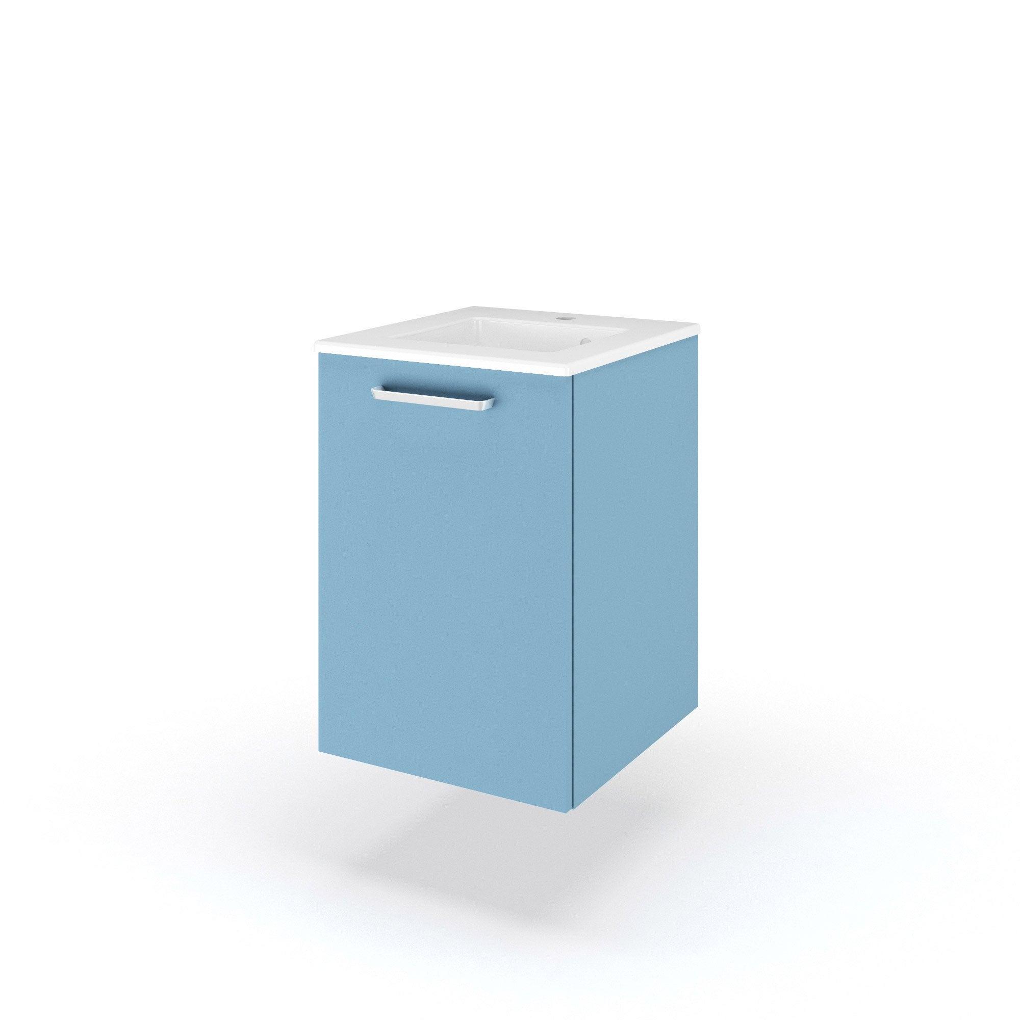 Meuble de salle de bains, Neo Line, l.46, bleu, Simple vasque, 1 ...