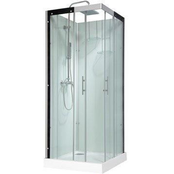 Cabine de douche carré 80x80 cm, Thalaglass 2 mitigeur