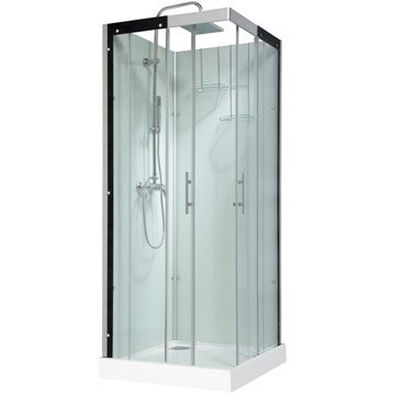 Cabine de douche thalaglass 2 simple mitigeur carr 80x80 cm - Cabine de douche simple ...