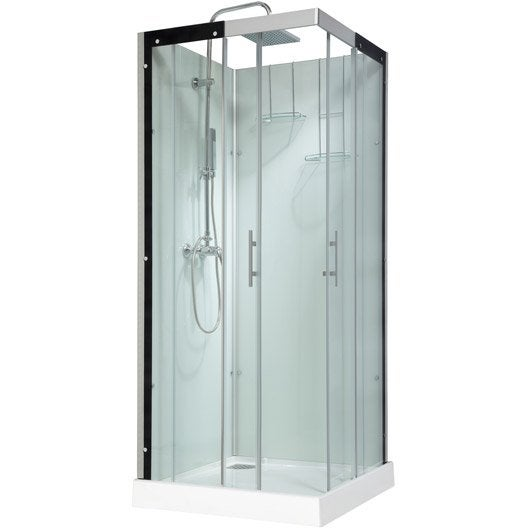 cabine de douche carr 90x90 cm thalaglass 2 mitigeur leroy merlin. Black Bedroom Furniture Sets. Home Design Ideas