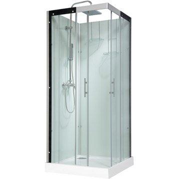 Cabine de douche carré 90x90 cm, Thalaglass 2 mitigeur