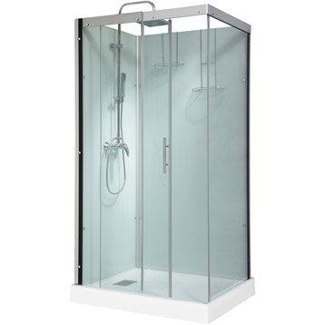 Cabine de douche rectangulaire 110x80 cm, Thalaglass 2 mitigeur