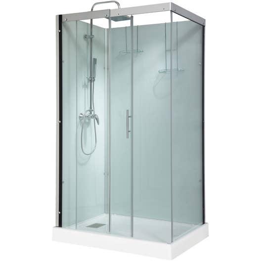 cabine de douche rectangulaire 120x90 cm thalaglass 2 mitigeur leroy merlin. Black Bedroom Furniture Sets. Home Design Ideas