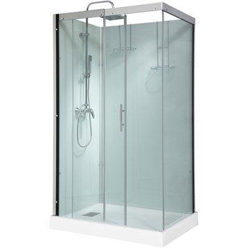 Cabine de douche rectangulaire 120x90 cm, Thalaglass 2 mitigeur