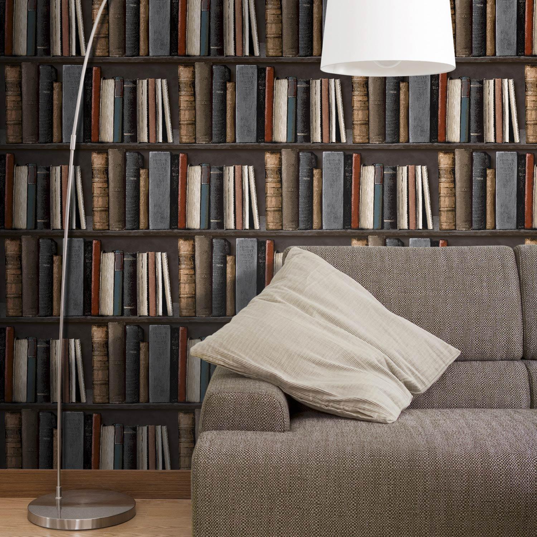Photo De Papier Intisse : Papier peint intissé bibliotek multicouleur leroy merlin