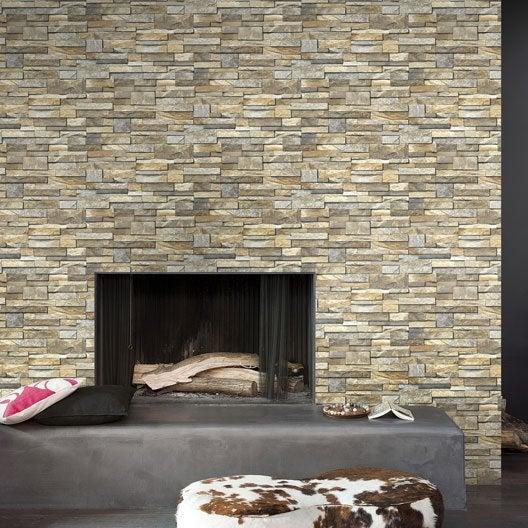 papier peint intissé brique marbre ivoire | leroy merlin