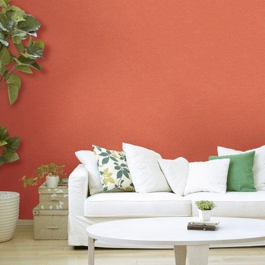 Papier peint intiss lisse mat orange leroy merlin for Coller du papier peint intisse