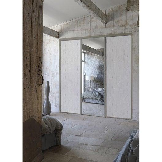 Porte de placard coulissante sur mesure optimum uno de 80 1 100 cm leroy merlin for Porte placard blanche